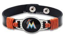 Miami Marlins MLB Genuine Leather Adjustable Sports Bracelet Charm Jewelry NEW
