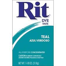 Rit Fabric Dye Powder - TEAL - 1 1/8 oz Tie Dyeing, Feathers