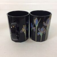 Two 2 Otagiri Blue Iris Mugs Japan 8 oz Gold and Blue Flowers Black Background