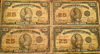 1923 DOMINION OF CANADA 25 BANK NOTES - LOT OF 4