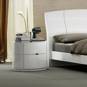 Laura White High Gloss Bedside Cabinet