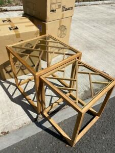 New Nest Of Tables in Oak Living Room Side Coffee Table Wooden Lattice Glass Top