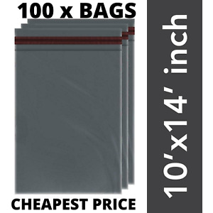 """100 STRONG GREY 10 X 14"""" POLY MAILING BAGS POSTAGE POSTAL QUALITY SELF SEAL BAGS"""