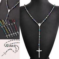Catholic Pearl Beaded Rosary Virgin Mary Jesus Cross Pendant Necklace Jewelry S8