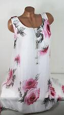 38/40 Traum Chiffon Kleid Sommerkleid Hängerchen 70 % Seide gefüttert Weiß