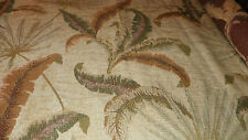 Tan Brown Green Feather Print Chenille Upholstery Fabric 1 Yard  F683