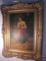 FINE AFTER ADOLPHE WILLIAM BOUGUEREAU ANTIQUE OIL PAINTING CIRCA 1800's