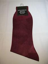 Mens SHEER Dress Socks 100% Nylon mid Calf Cranberry Size 10-13  thin SILKY FEEL