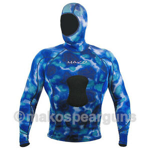 Wetsuit Shirt Spearfishing Blue Camouflage - MAKO Spearguns