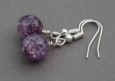 PURPLE COLOURED QUARTZ DROP EARRINGS ~ SILVER PLATED