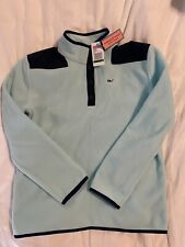 Vineyard Vines Girls Snap Fleece Pullover Crystal Blue L 14 Authentic Nwt
