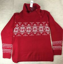 Brand New New York Company Red Cowl Neck Snowflake Sweater Women's Small