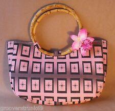 Pink Starburst Square Bamboo Handle Handbag Rockabilly Pinup Vintage Tiki