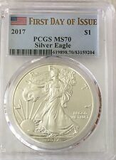 2017  $1 - First Day of Issue - PCGS MS70 American Silver Eagle - Flag Label JJ