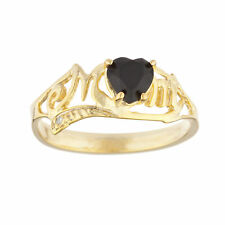 14Kt Yellow Gold Plated Genuine Black Onyx & Diamond Heart Mom Ring