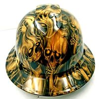 FULL BRIM Hard Hat custom hydro dipped , NEW PETRIFIED WOOD DEAD WOOD SKULLS NEW