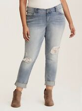 Torrid Lace Inset Distressed Boyfriend Jeans Light Wash Size 26R MSRP $74.90