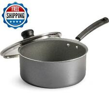 3 Quart Nonstick Saucepan W/ Glass Lid Kitchen Cooking Dishwasher Safe Aluminum