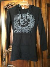 No Fear Juniors Size Small Black Pullover Graphic Hoodie Top EUC