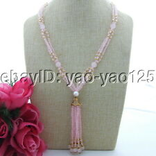 "22""  Pink Rose Quartz Necklace Tassel Pendant  free shipping"