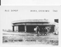 1945 WWII US Okinawa small Photo #29 wrecked Bus Depot Naha