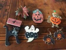 Vintage Halloween Brooch Pins & Earrings Black Cat Pumpkin  Ghost