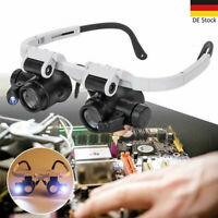 Profi LED Stirnlupe Kopflupe Lupenbrille mit Licht Lupe Brillenlupe Leuchtlupe