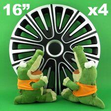 """Enjoliveurs 16"""" Motion ★ 4 pièces ★ ARGENT+NOIR pour VW Beetle Passat Sharan"""