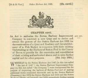 Antique Act of Parliament Fish Market & New Quay Sutton Pool 1895 politics