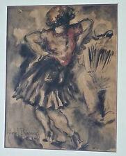 """Marcel PRUNIER (? - 1980): aquarelle """"Danseuse"""", 1934, 32x25cm, signée, cadre"""