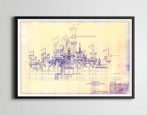 "DISNEYLAND Castle Blueprint POSTER! (up to 24"" x 36"") - 1955 - Sleeping Beauty"