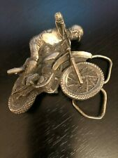 Vintage Dirt Bike and Rider Motorcross Motor Bike Belt Buckle Detailed Dimension