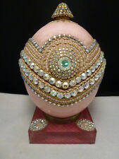 VINTAGE Ostrich egg music box  MANY JEWELS   JEWEL INCRUSTED  LARGE  MUSIC BOX