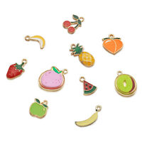 30pcs Mixed Fruits Alloy Enamel Pendants Mini Dangle Charms Links Craft 15~25mm