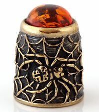 """Thimble Spider Brass and Honey Baltic Amber Collectible Russian Souvenir 1 1/8"""""""