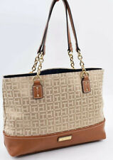 TOMMY HILFIGER Small Fabric Monogram Tote / Shopper Bag, Handbag, Beige/Tan