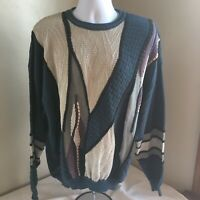 St Croix Knits Mens Sweater Large Abstract Biggie Cosby Style USA Made Free Ship