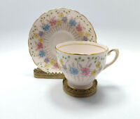 Tuscan Bone China England Pink with Multi-Colored Flowers Tea Cup & Saucer