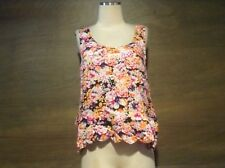 Minkpink Womans TANK TOP FLORAL SIZE LARGE VISCOSE HIGH LOW ZIP BACK