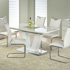 """MISTRAL"" White High Gloss Extendable 160-220 cm Dining Table & Chairs"