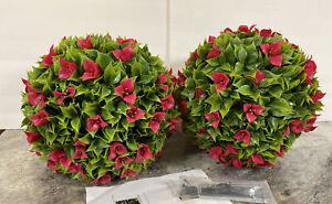 """Wicker Park Set 15"""" Faux Flower Bougainvillea Indoor Outdoor Garden Spheres Pink"""