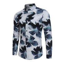 Men's Slim fit dress shirt luxury floral stylish tops t-shirt formal casual