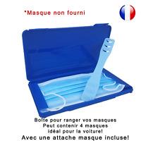 Boîte de rangement et attache bleue pour masque