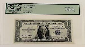 1957B $1 Silver Certificate PCGS 68 Superb Gem PPQ WA Block