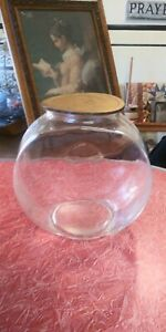 "Vintage glass fish bowl or/sugar jar 8 1/2"" by 8 1/4""  5"" opening."