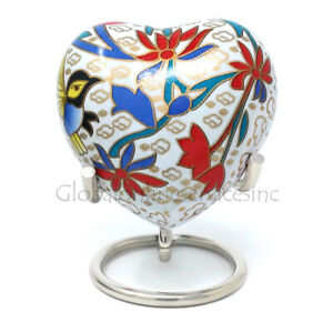 Beautiful Small White Floral Heart Keepsake Cremation Urn For Ashes