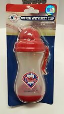 MLB Licensed Philadelphia Phillies Baby Sipper Sippy Cup with Belt Clip New!
