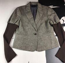 BCBG MAXAZRIA Womens Blazer Brown Tweed Button Down Career Long Sleeve Size M