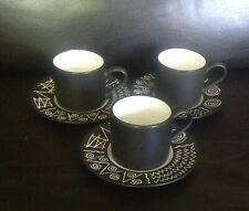 Habitat SCRAFFITO 3x Espresso Coffee Cups & Saucers Japan Vintage Retro