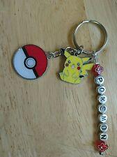 Personalised Pikachu Pokemon Pokeball Keyring  present Gift UK Seller